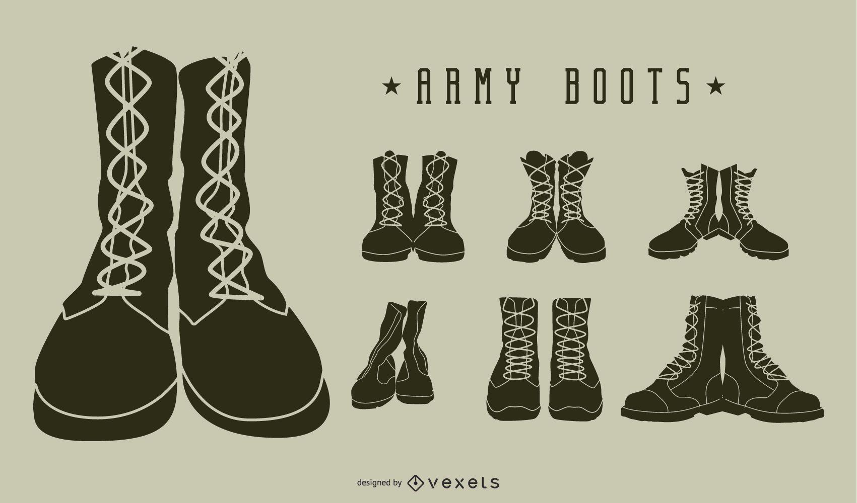 Pacote de silhueta de botas militares