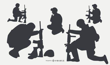 Militärische Menschen Silhouetten