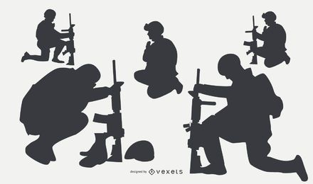 Silhuetas de militares