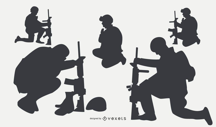 Military people silhouettes