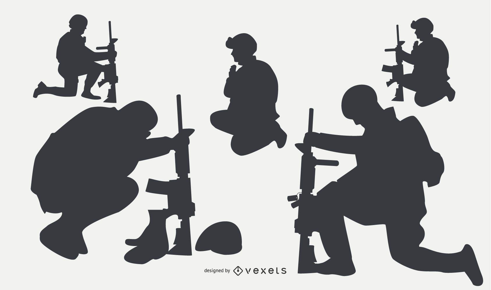Siluetas de personas militares