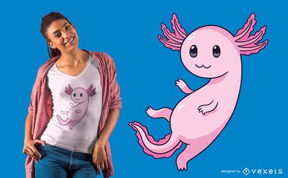 Design bonito do t-shirt de Axolotl