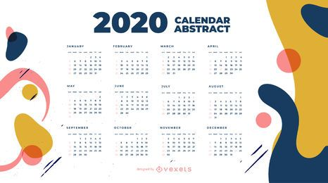 Diseño de calendario abstracto año 2020