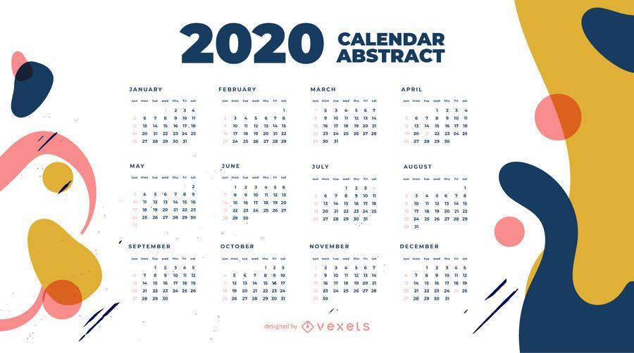 Design de calendário abstrato do ano 2020