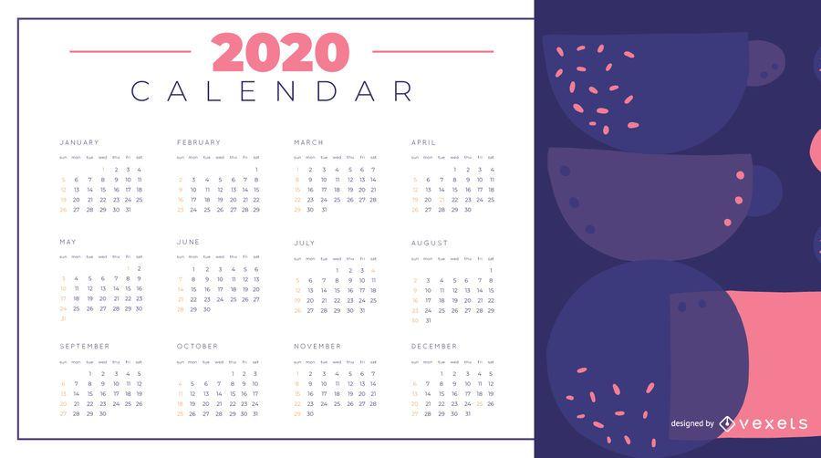 Calendário 2020 do projeto abstrato