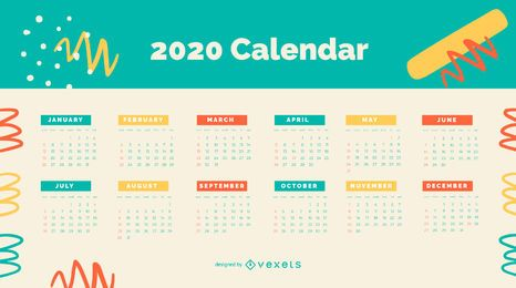 Colorful Abstract 2020 Calendar Design