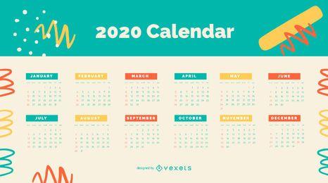 Design de calendário colorido abstrato 2020