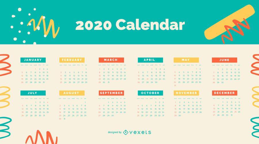 Diseño colorido del calendario abstracto 2020
