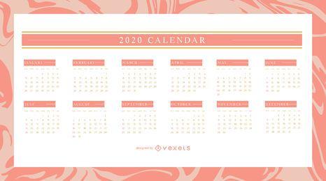 Design elegante do calendário 2020