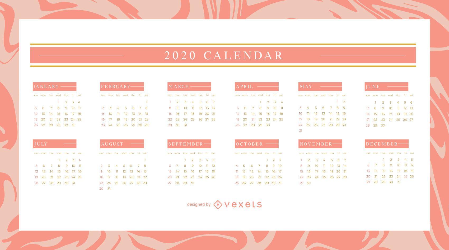 Elegant 2020 Calendar Design