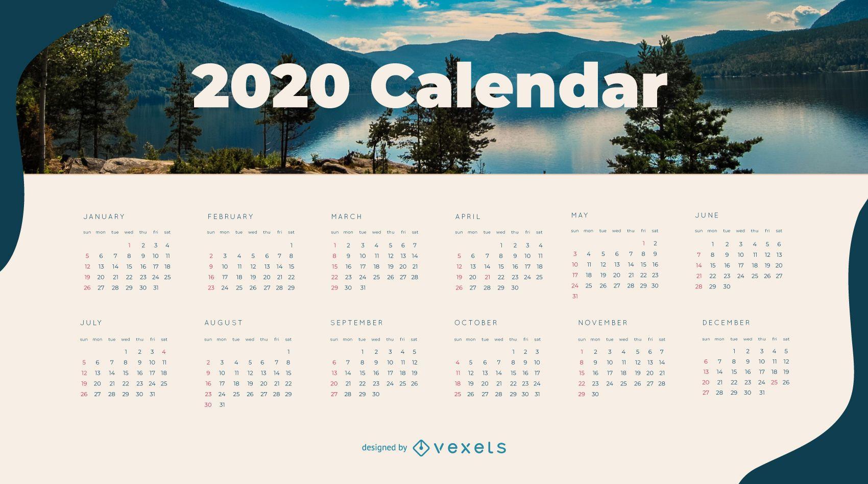 Diseño de calendario de naturaleza 2020