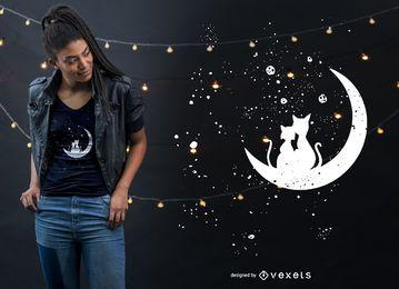 Katzen-Mond-Liebes-T-Shirt Entwurf