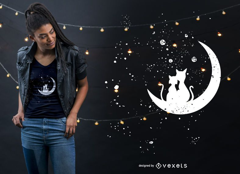 Diseño de camiseta Cat Moon Love