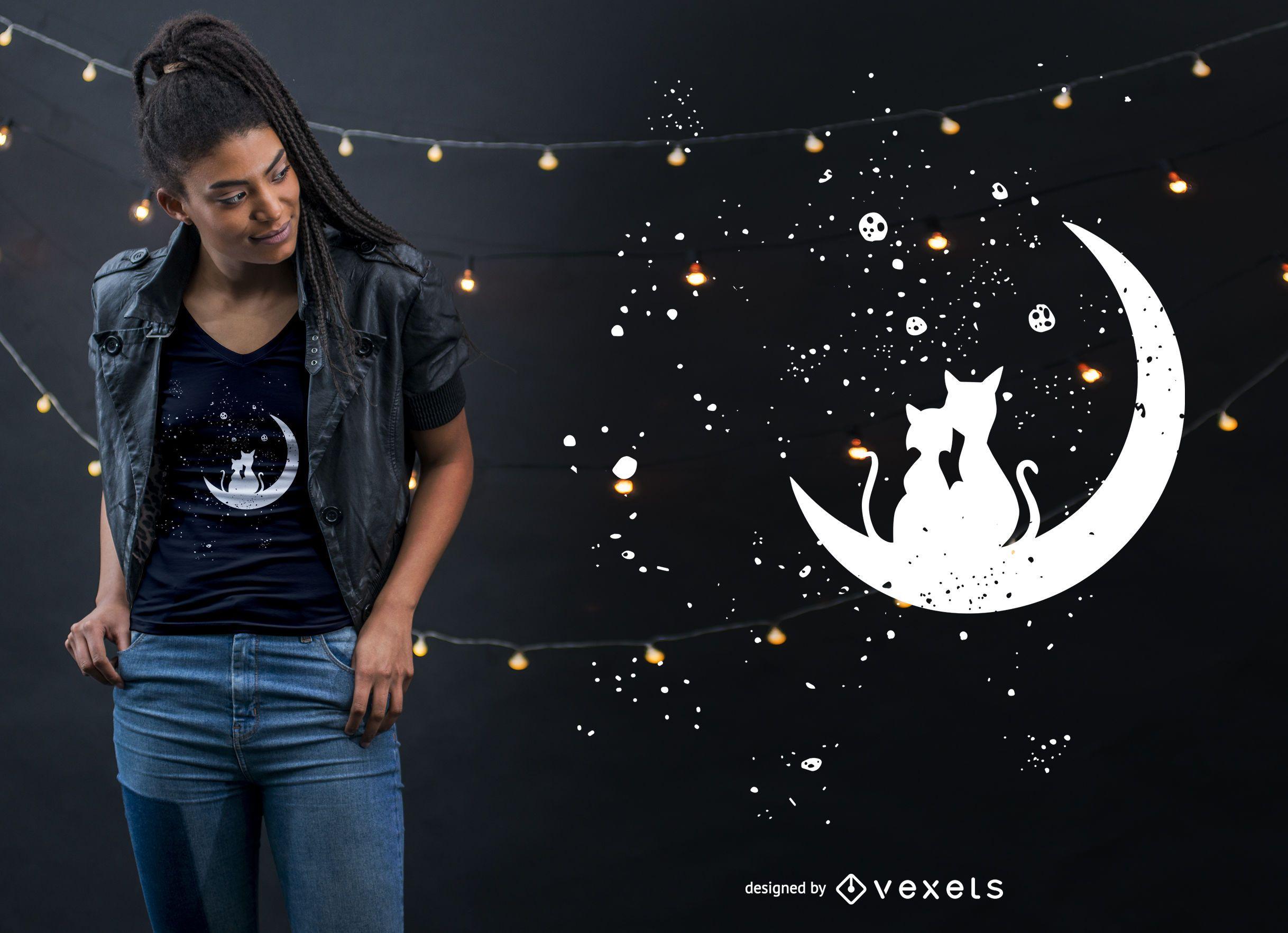 Cat Moon Love T-shirt Design