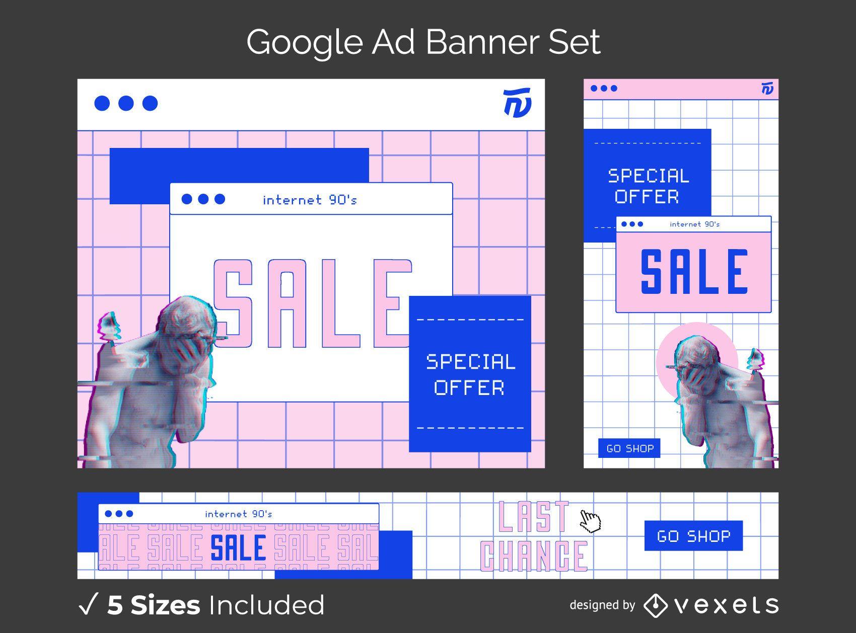 90er Jahre Internet ästhetische Banner-Set