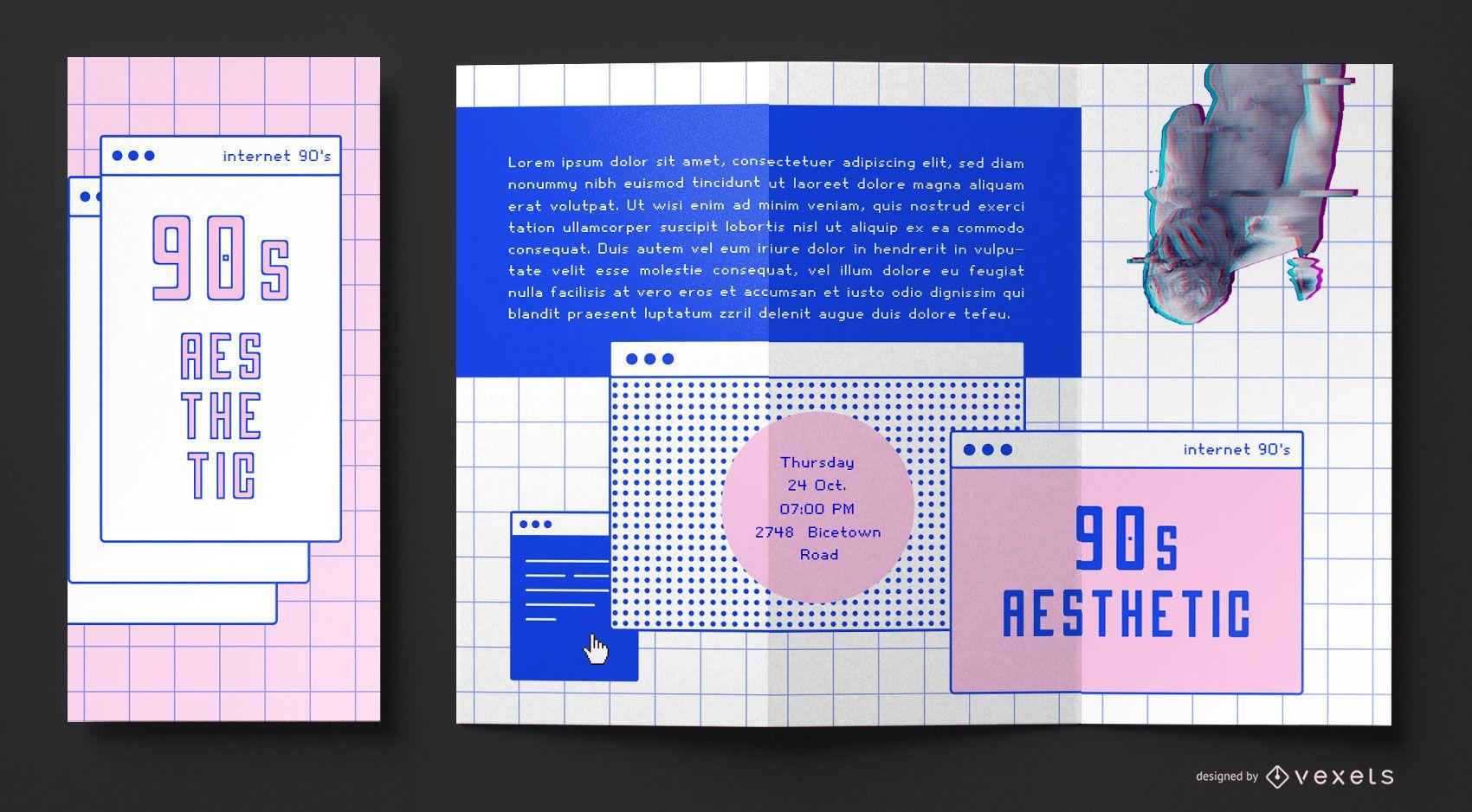 Brochura de estética da internet dos anos 90