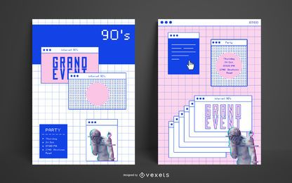 Plantilla de póster estético de internet de los 90