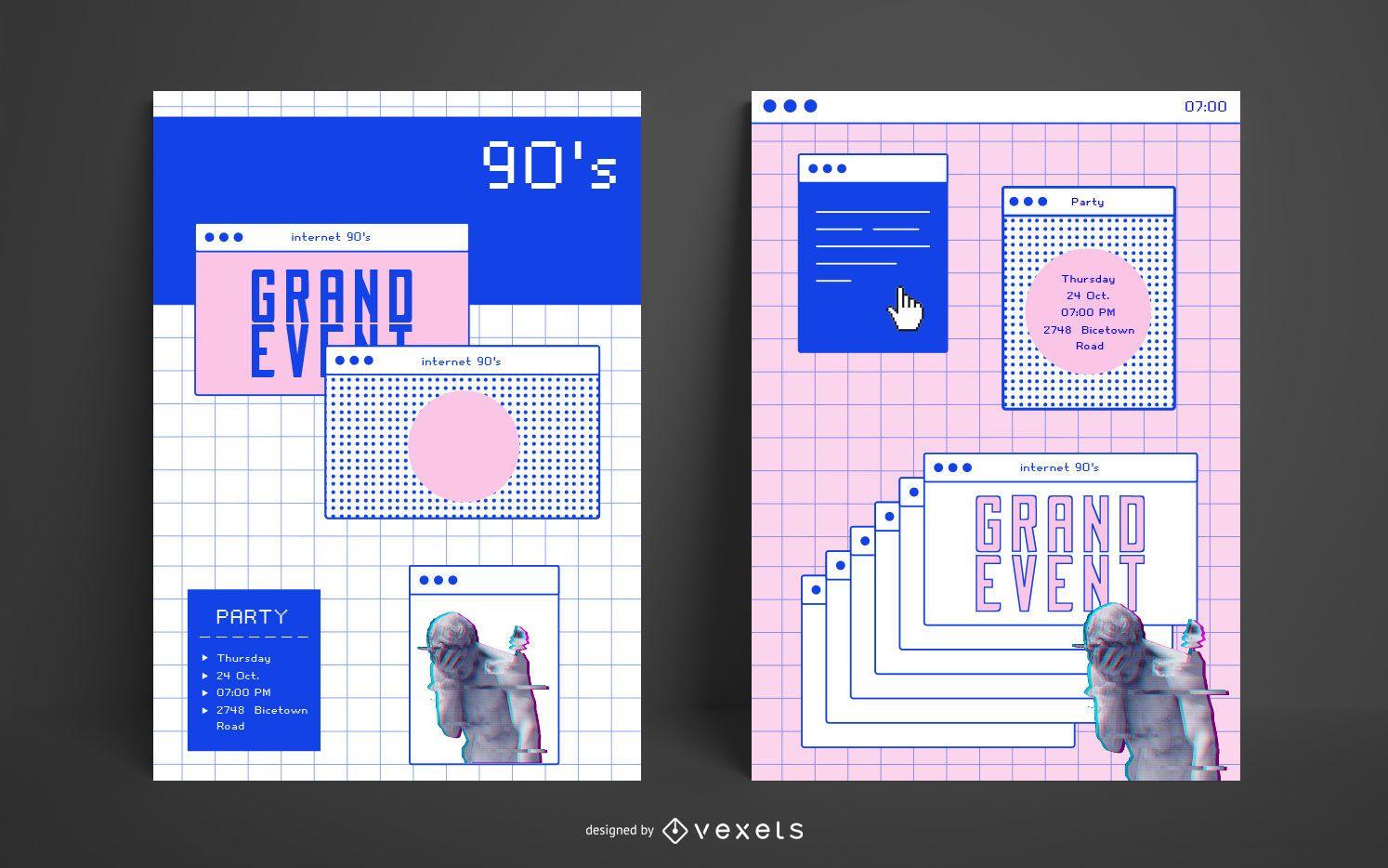 Plantilla de cartel de estética de internet de los 90