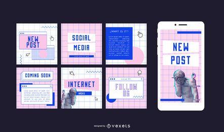 Publicaciones sociales estéticas de internet de los 90