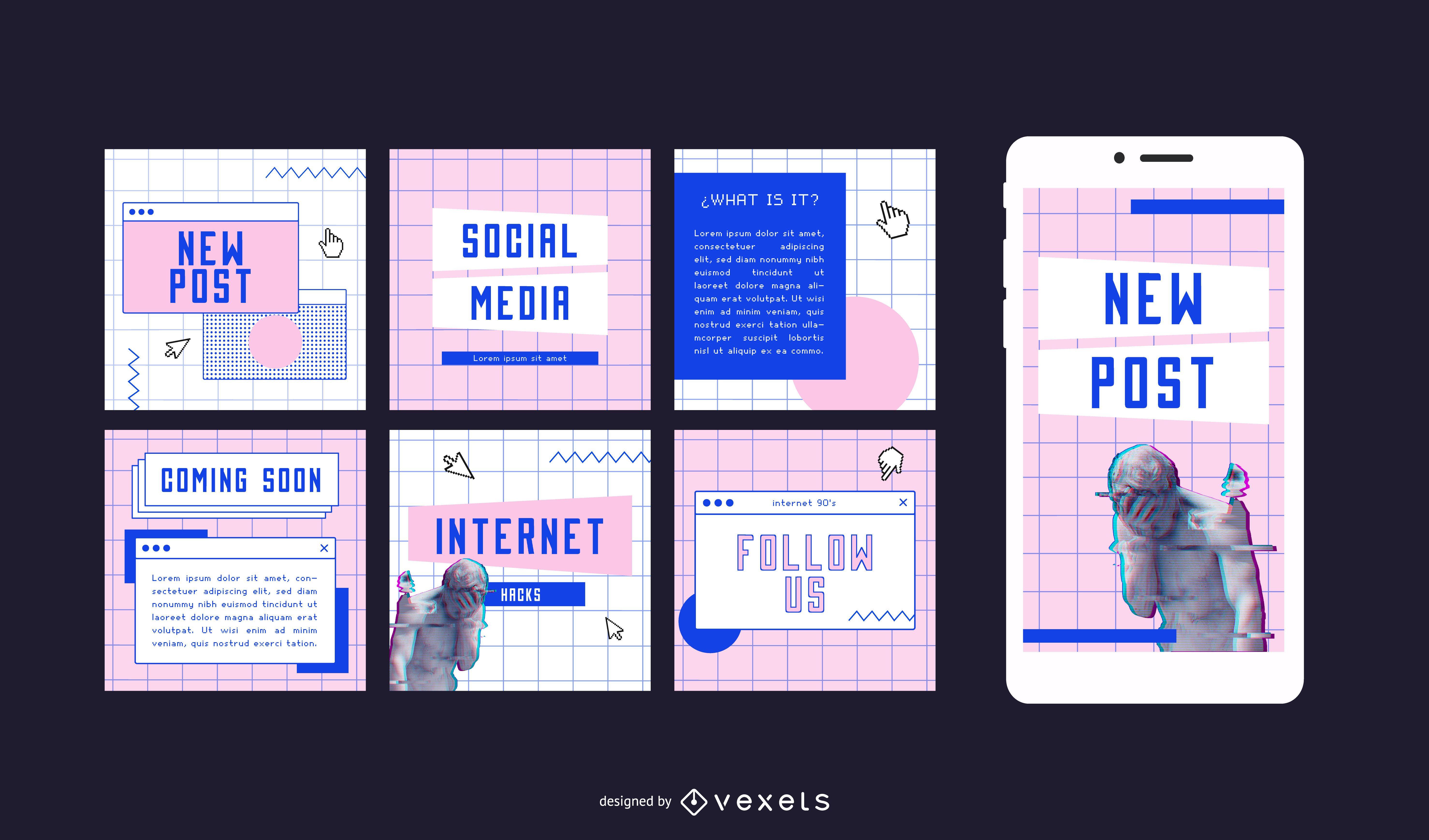 Postagens sociais estéticas na internet dos anos 90