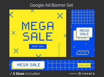 Conjunto de banners de anuncios de internet de los 90