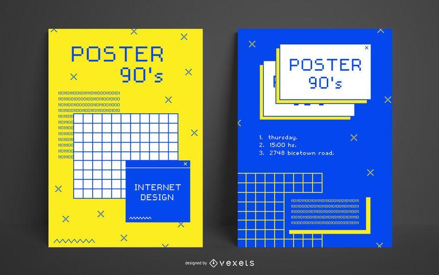 Plantilla de póster de internet de los 90