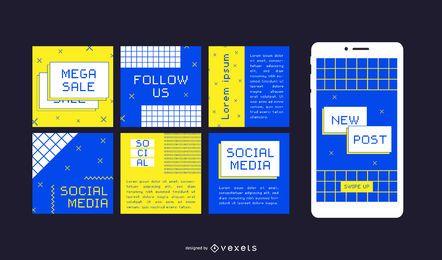 Postagens de mídia social na internet dos anos 90