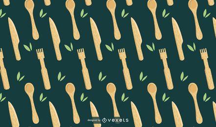 Diseño de patrón de utensilios de cocina de bambú