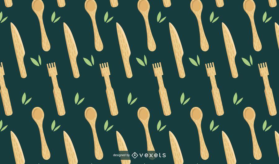 Bamboo kitchen utensils pattern design
