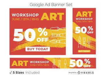 Conjunto de banner de anúncio de oficina de arte