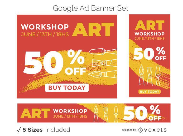 Art workshop ad banner set