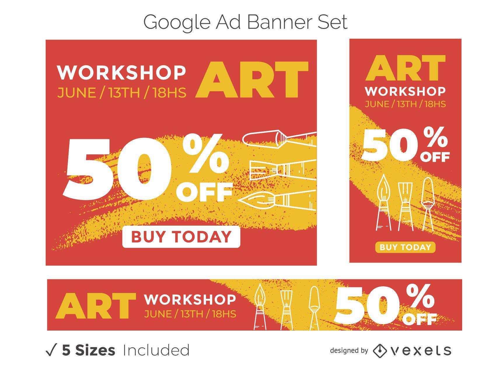Conjunto de banner publicitario de taller de arte