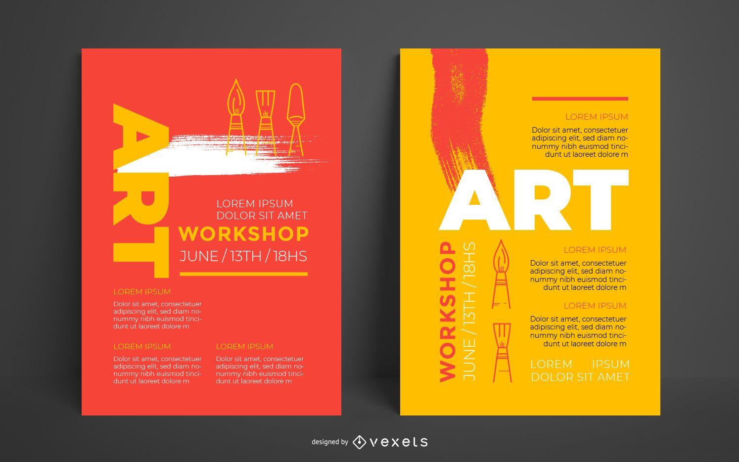 Plantilla de póster de taller de arte