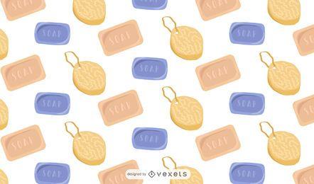Design de padrão de sabonetes e esponjas