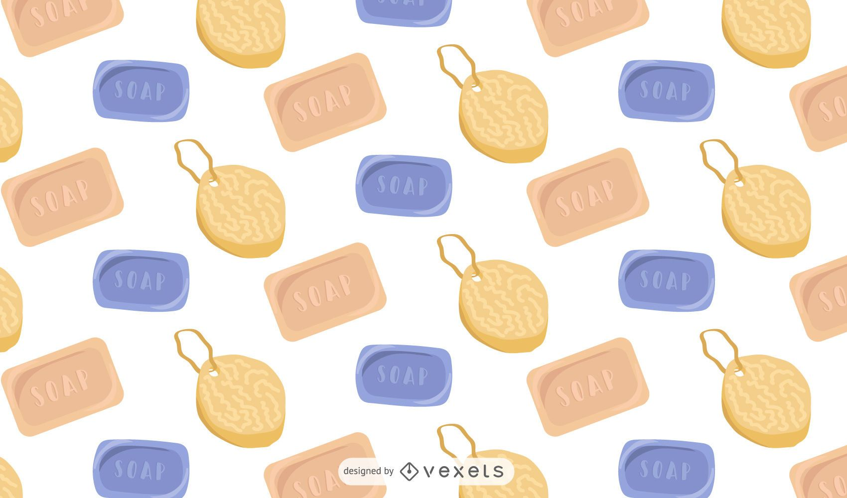 Soaps and sponges pattern design