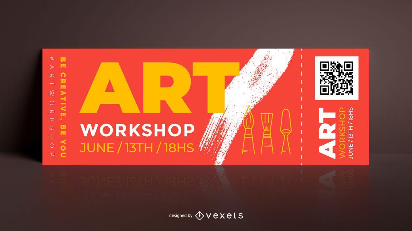 Ticket editable taller de arte