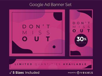 Conjunto de banners de anúncios de formas abstratas