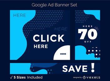 Conjunto de banner de anuncio azul abstracto