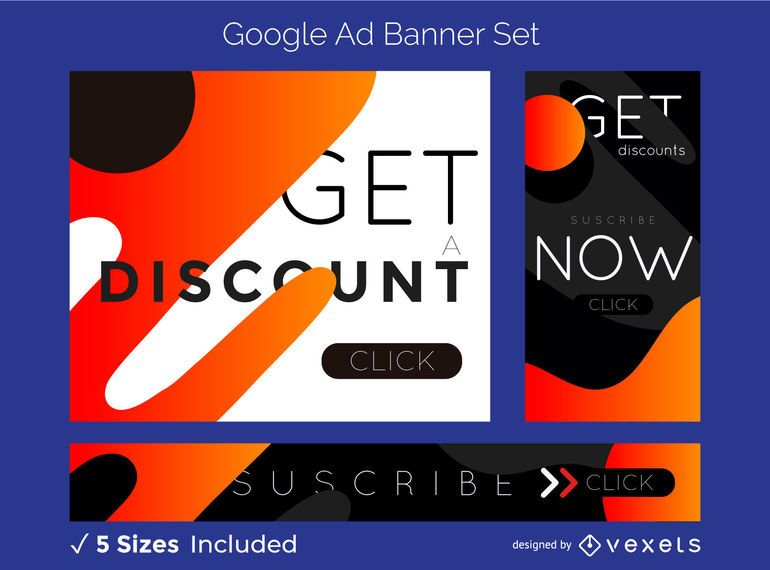 Abstract discount ad banner set