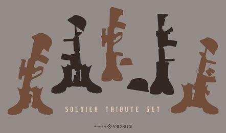 Conjunto de silhueta de homenagem a soldado