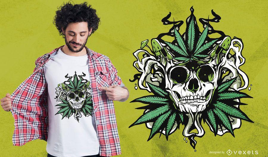 Design de t-shirt de crânio de maconha