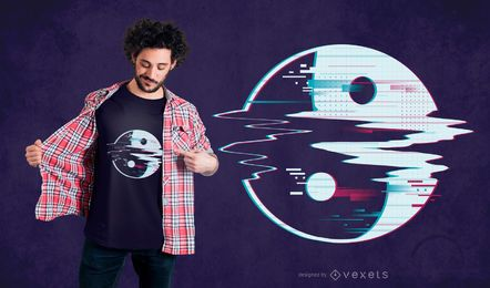 Diseño de camiseta yin yang glitch