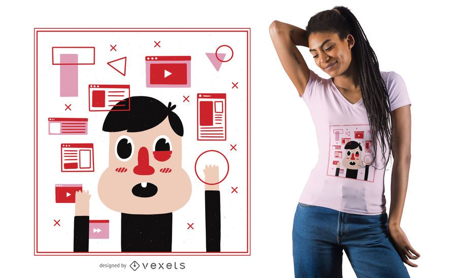 Diseño de camiseta abierta con pestañas cerebrales.