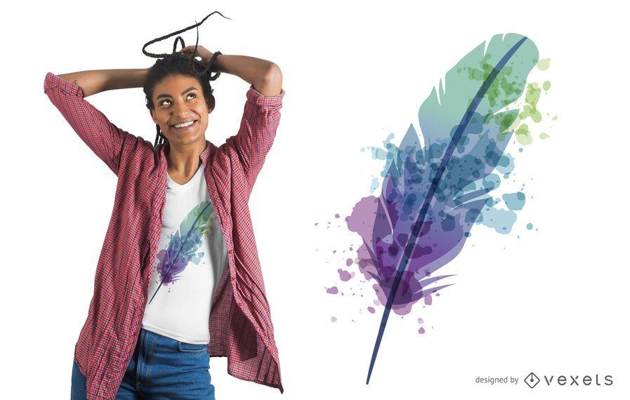 Diseño de camiseta de plumas de acuarela