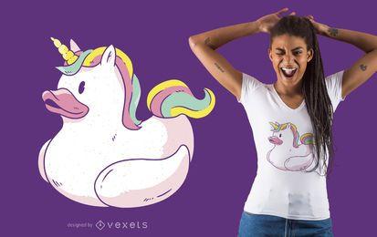 Diseño de camiseta de pato unicornio