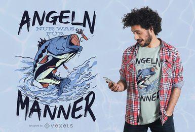 Desenho de camiseta de pesca com citações do alemão