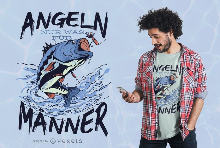 Diseño de camiseta de cita alemana de pesca