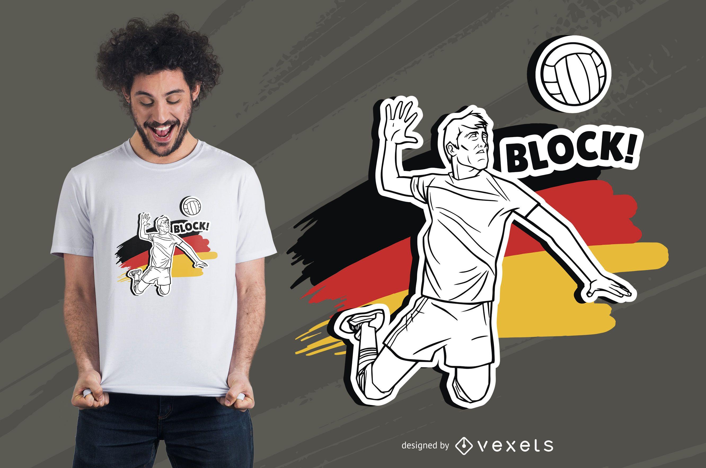 Diseño de camiseta de hombre de voleibol alemán.