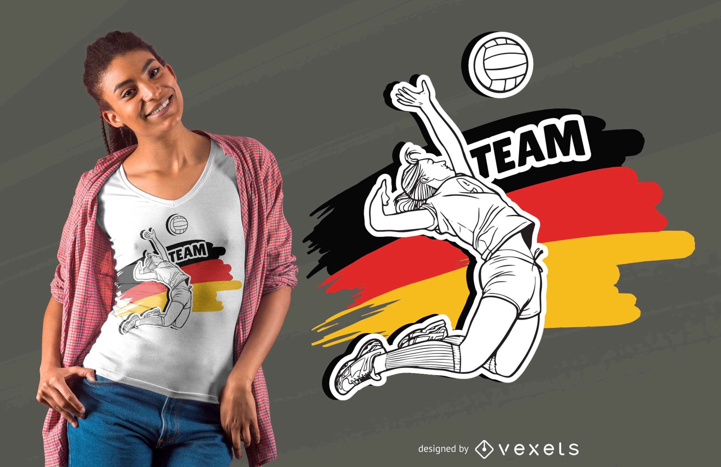 Diseño de camiseta de voleibol alemán.