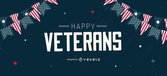 Design editável do slider dos veteranos felizes